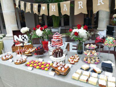 mesa dulce boda rojo blanco