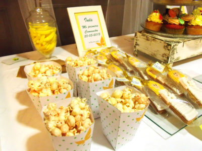 Galletas de mantequilla personalizadas para niña, y palomitas