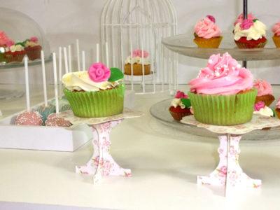 Cupcakes de vainilla, con buttercream de vainila decorado con una rosa de fondant, fondant con bizcocho de vainilla decorado con buttercream de fresa y decorado con bolitas de caramelo, cake pops con candy mels de color rosa y azul con decoracion de bolitas de caramelo