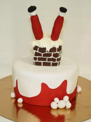 divertida tarta de Papá Noel atrancado intentando entrar por la chimenea