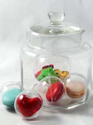 bolitas transparentes con macarons o galletitas