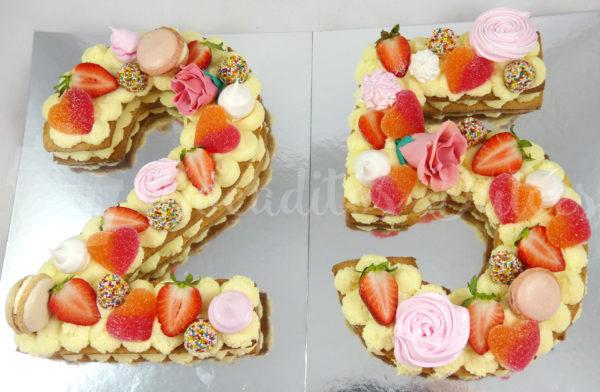 tarta letras y números número 25