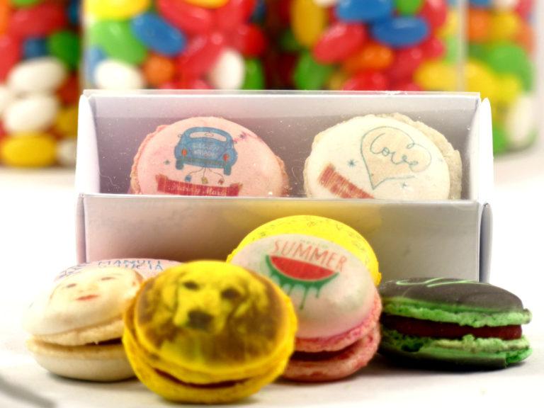 macarons decorados con imagen impresa