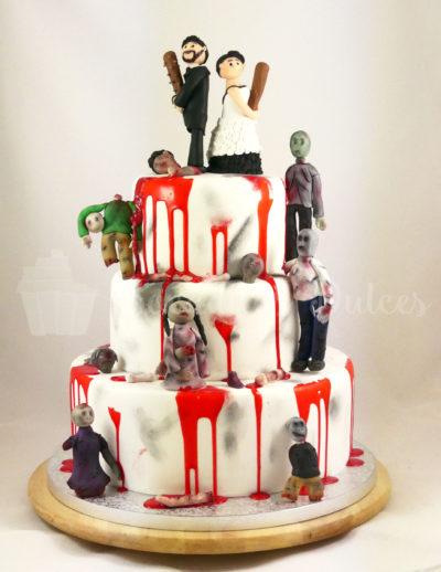 tarta de pisos d eboda decorada con temática zombie