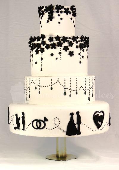 tarta de boda de pisos con siluetas en blanco y negro