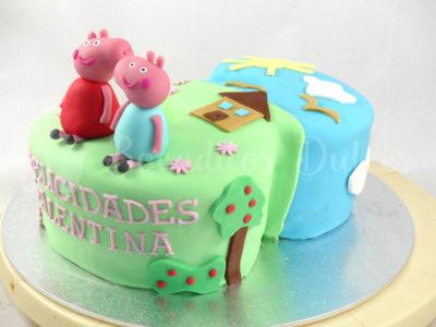 tarta nº 3 con personajes de Peppa pig