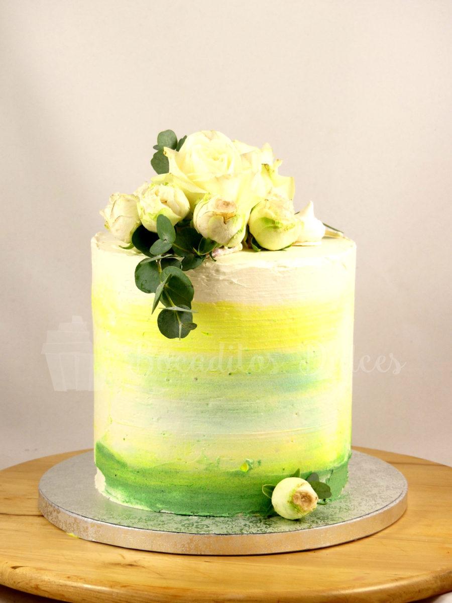 tarta sin fondant con decorción tipo acuarela