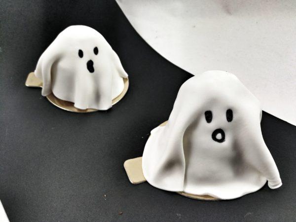 minitartas de calabaza con disfraz de fantasma de fondant