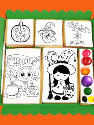 caja de galletas acuarela de halloween